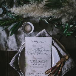 - AMY ROCHELLE PRESS - Menu Design for Eva Kosmas Flores Croatia Photography Workshop. Each menu was hand lettered in emerald green with pearl accents. Photography by Eva Kosmas Flores.