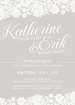 - AMY ROCHELLE PRESS - A custom designed, taupe and white wedding invitation suite with lace illustrations.