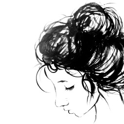 - AMY ROCHELLE PRESS - Ink illustration, a portrait of a girl with a messy bun.