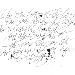 - AMY ROCHELLE PRESS - Modern calligraphy piece with ink splatters, written on body image.