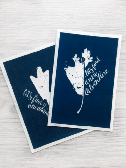 """- AMY ROCHELLE PRESS - These prints were created by gathering Fall leaves with missing sections, and hand lettering """"let's find a new adventure"""" into the missing shape of the leaf. The leaves and illustration were then exposed in a darkroom to handmade cyanotype paper creating this deep blue, direct image."""