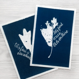 "- AMY ROCHELLE PRESS - These prints were created by gathering Fall leaves with missing sections, and hand lettering ""let's find a new adventure"" into the missing shape of the leaf. The leaves and illustration were then exposed in a darkroom to handmade cyanotype paper creating this deep blue, direct image."