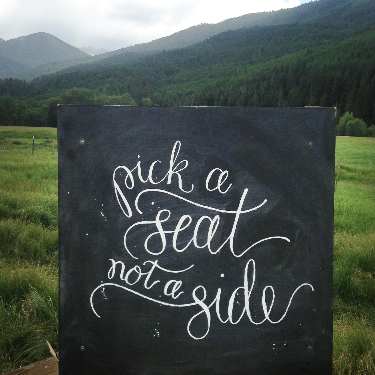 - AMY ROCHELLE PRESS - Seating chalk board lettering art for a mountain wedding.