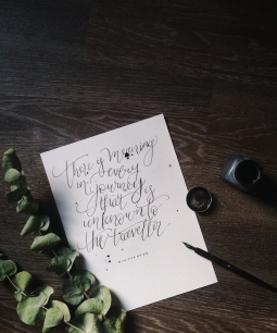 """- AMY ROCHELLE WATSON - Free-spirited modern calligraphy lettering: """"there is meaning in every journey that is unknown to the traveler"""" ― Dietrich Bonhoeffer"""