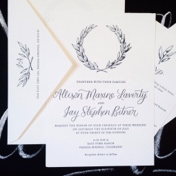 - AMY ROCHELLE PRESS - Custom letterpress wedding invitation suite with a hand illustrated olive wreathe and hand lettered calligraphy. Letter pressed on Crane's Lettra with soft charcoal ink.