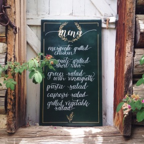 - AMY ROCHELLE PRESS - Wedding menu: This menu board design was hand lettered for a Italian / Ranch themed wedding in the Colorado mountains