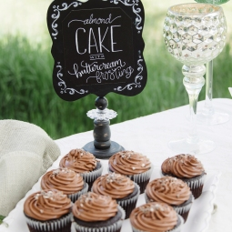 - AMY ROCHELLE WATSON - Chalk signs with hand lettering for Almond Cake with buttercream frosting. Photography: Images by Bethany