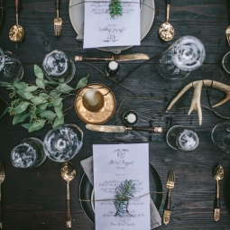 - AMY ROCHELLE PRESS - Fire and Ice Secret Supper. The Secret Supper crew styles such incredible table arrangements. I love the richness of the green and gold against the dark woods. Photo by Eva Kosmas Flores