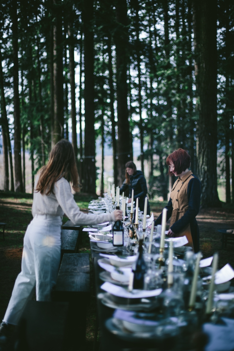 - AMY ROCHELLE PRESS - Fire and Ice Secret Supper. Secret Supper long table gathering, set under the pines in Oregon. Photo by Eva Kosmas Flores