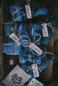 Each workshop participant received a lovely gift package wrapped in indigo cloth and twine and finished with my hand lettered tags with a taupe watercolor wash | Photo by Eva Kosmas Flores | AMY ROCHELLE PRESS