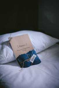 Hand made calligraphy gift tags for each photography and styling workshop participant paired with indigo gift wrap | Photo by Eva Kosmas Flores | AMY ROCHELLE PRESS